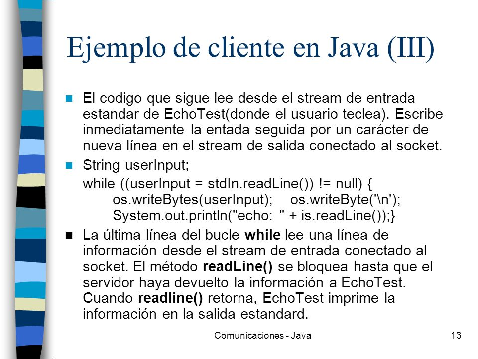 Ejemplo de cliente en Java (III)