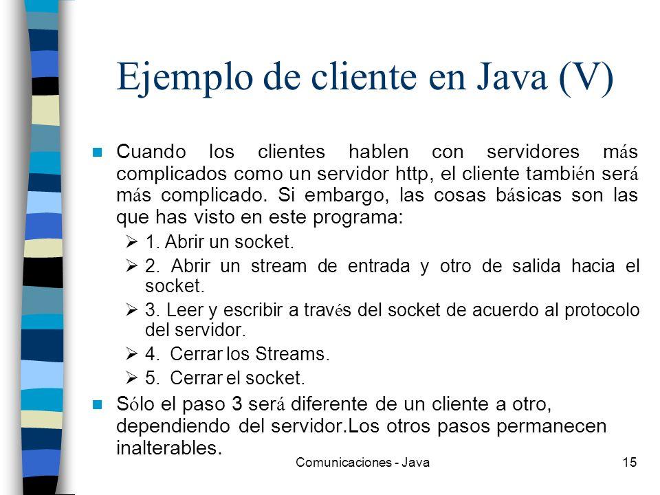 Ejemplo de cliente en Java (V)