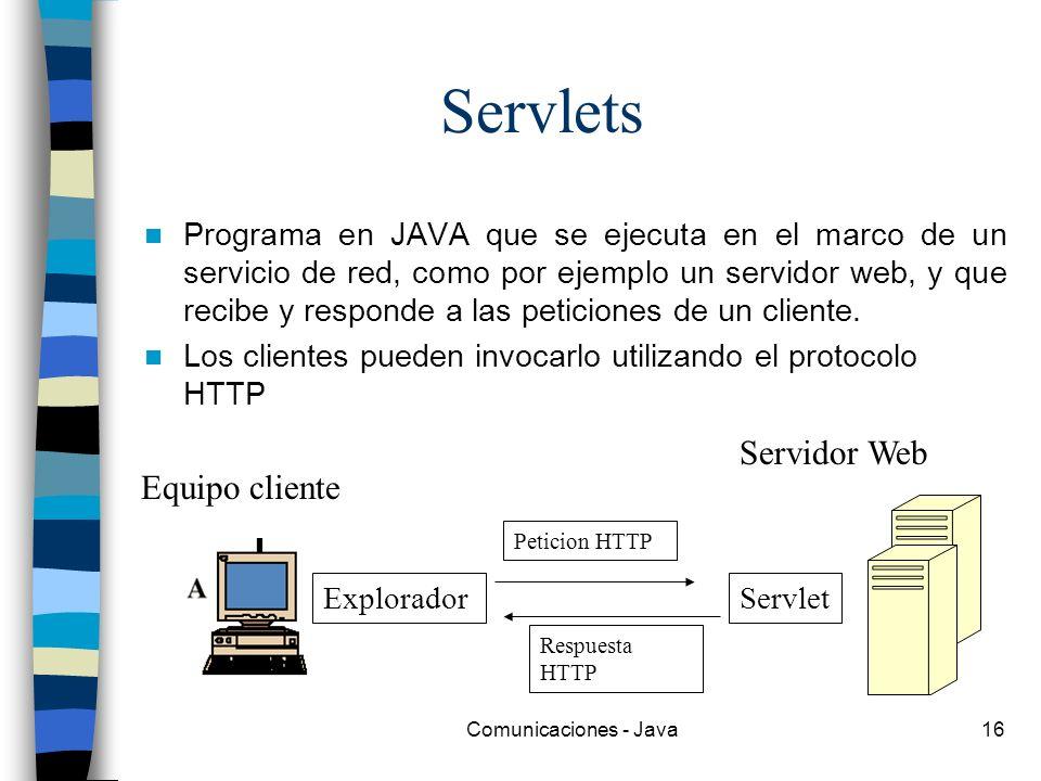 Servlets Servidor Web Equipo cliente