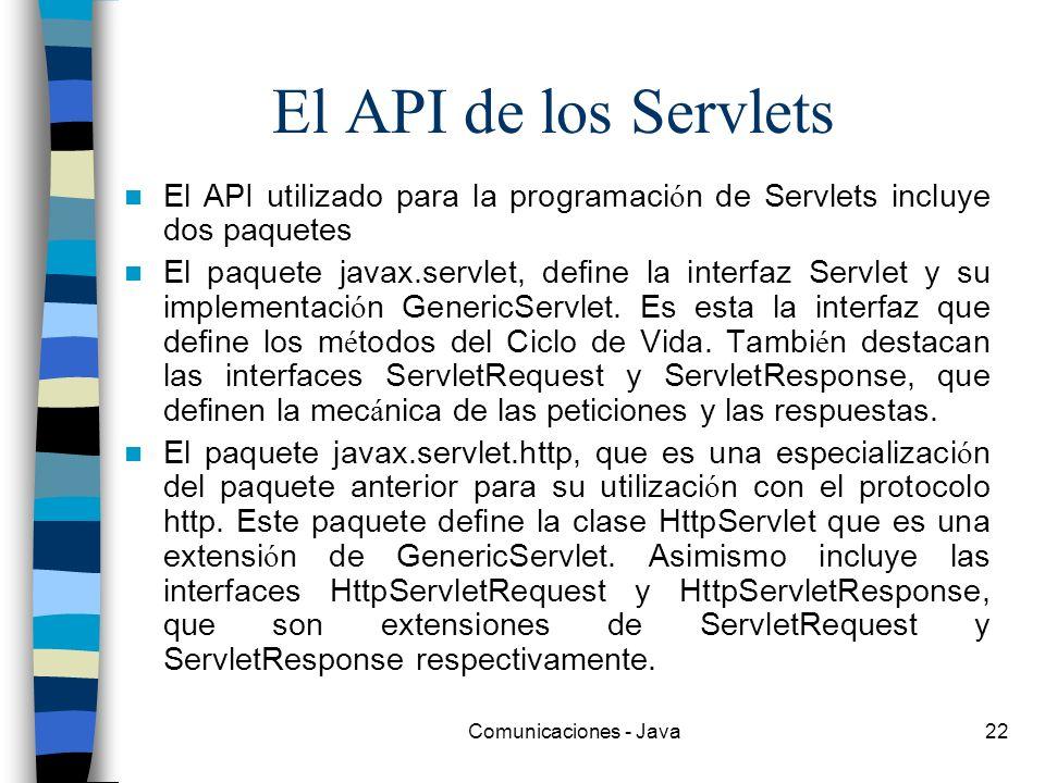 El API de los Servlets El API utilizado para la programación de Servlets incluye dos paquetes.