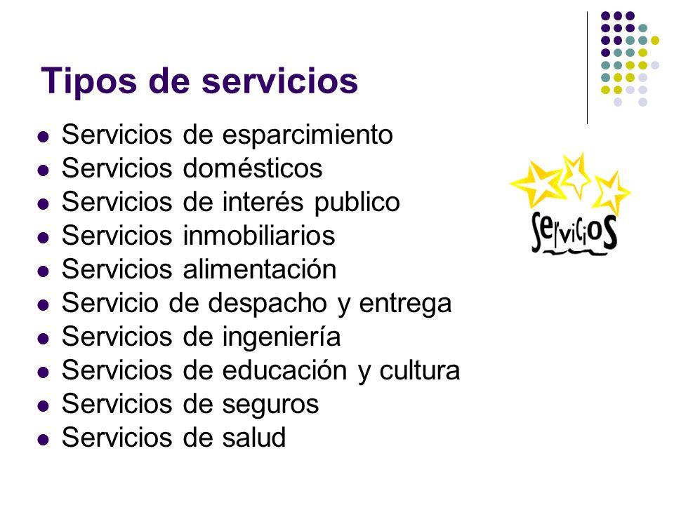 Tipos de servicios Servicios de esparcimiento Servicios domésticos