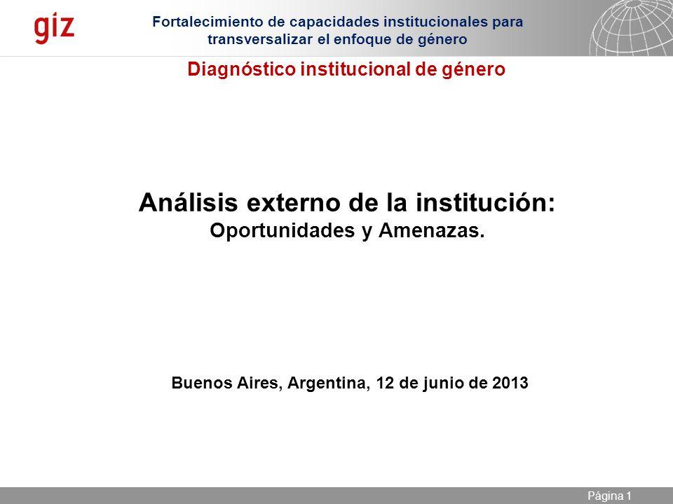 Análisis externo de la institución: Oportunidades y Amenazas.