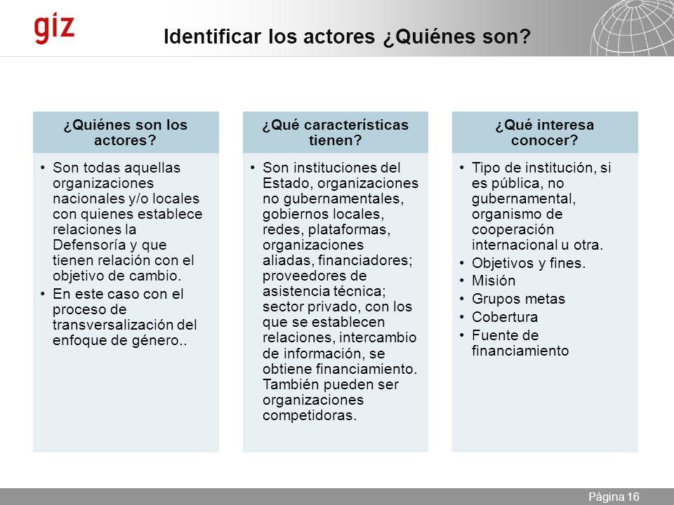 ¿Quiénes son los actores ¿Qué características tienen