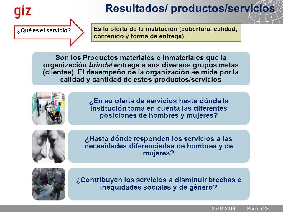 Resultados/ productos/servicios