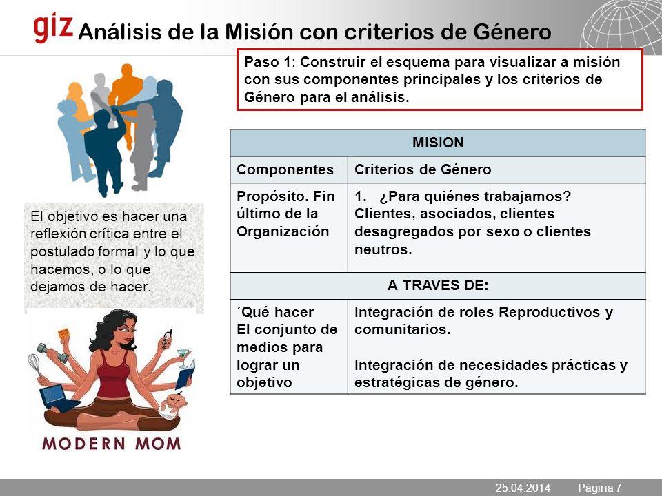 Análisis de la Misión con criterios de Género