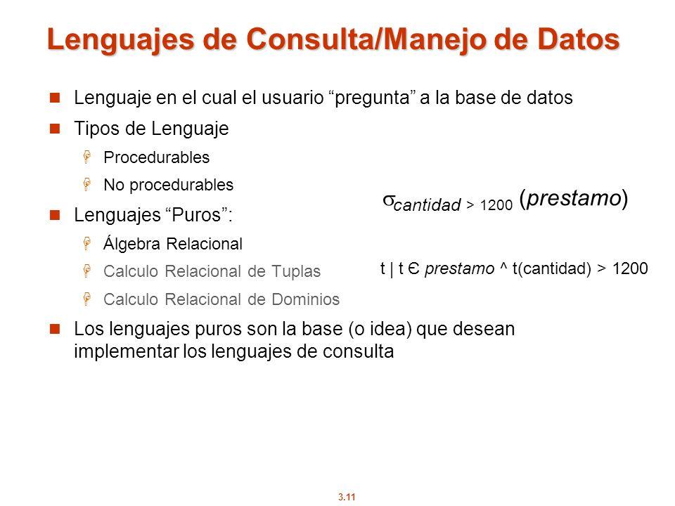 Lenguajes de Consulta/Manejo de Datos