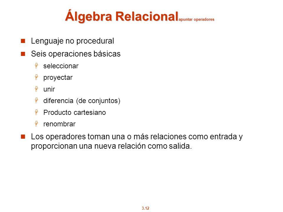 Álgebra Relacionalapuntar operadores