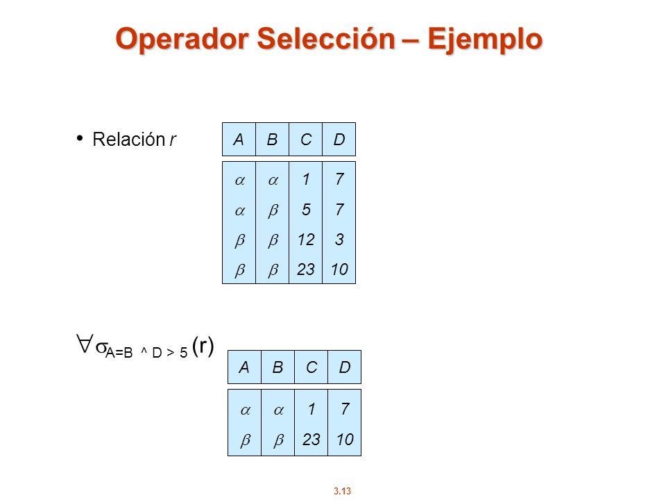 Operador Selección – Ejemplo