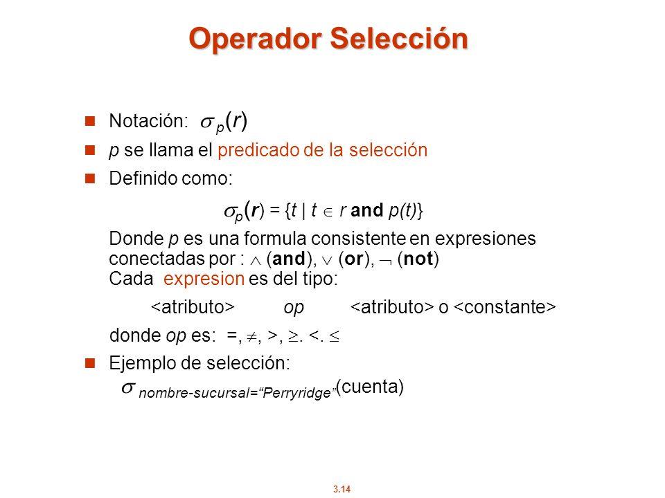 Operador Selección Notación:  p(r)