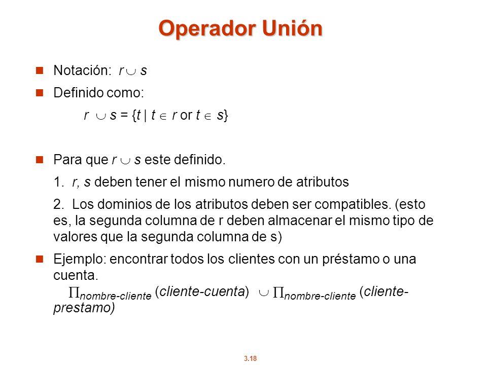 Operador Unión Notación: r  s Definido como: