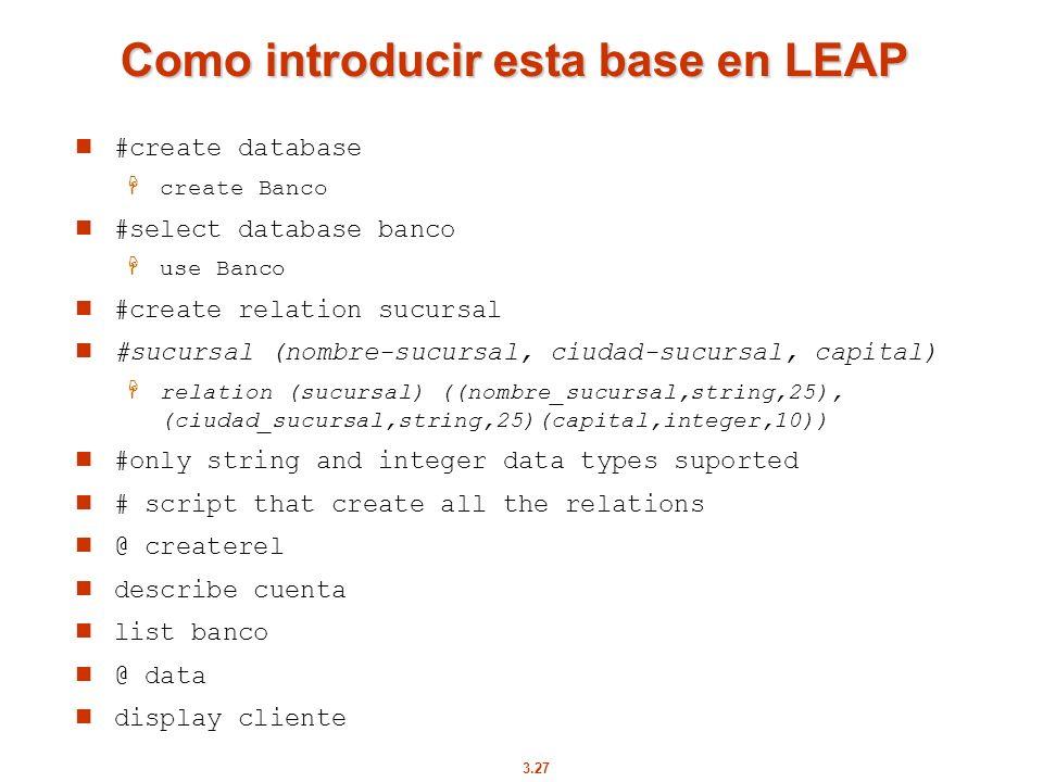 Como introducir esta base en LEAP