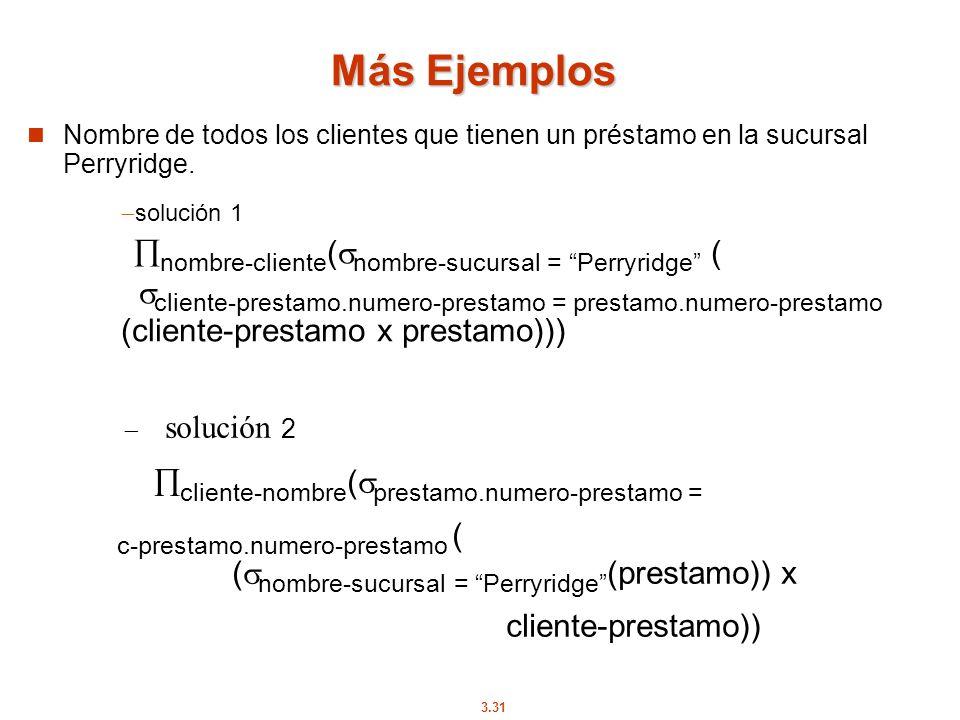 Más Ejemplos Nombre de todos los clientes que tienen un préstamo en la sucursal Perryridge.
