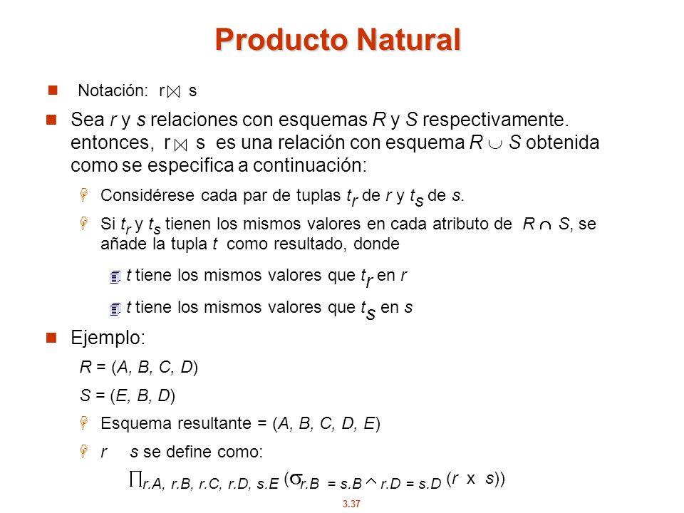 Producto Natural Notación: r s.