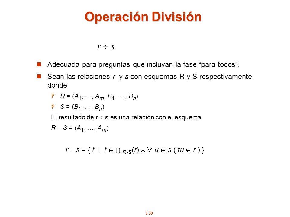 Operación División r  s