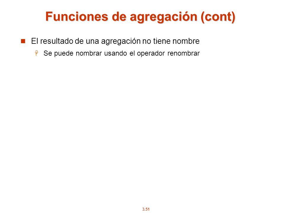 Funciones de agregación (cont)