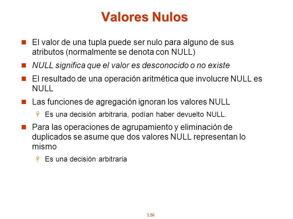 Valores Nulos El valor de una tupla puede ser nulo para alguno de sus atributos (normalmente se denota con NULL)