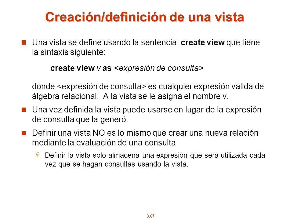 Creación/definición de una vista