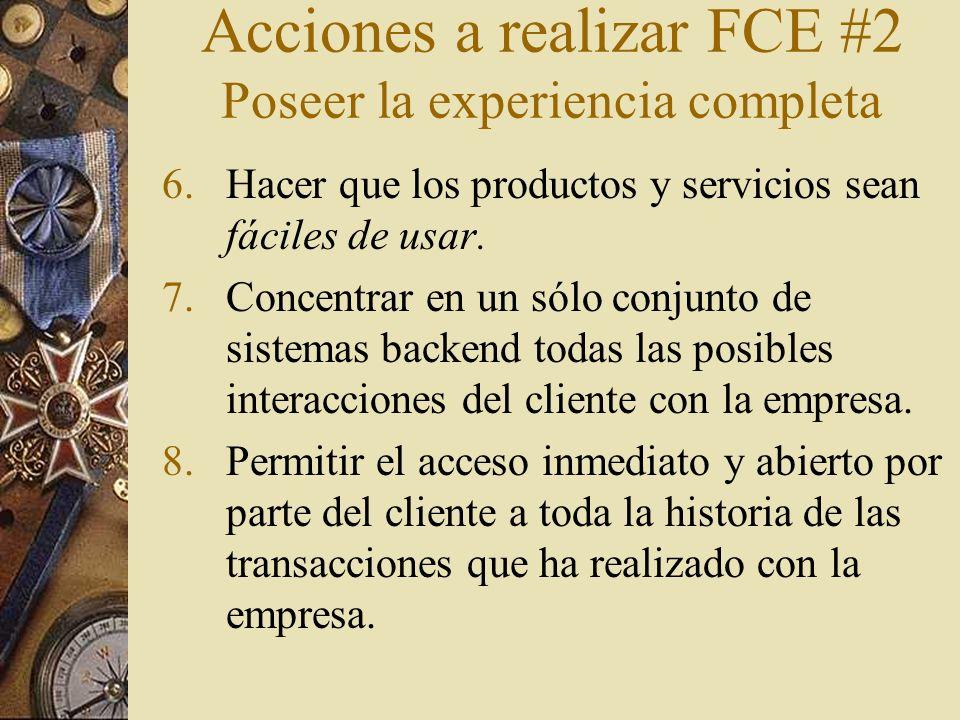 Acciones a realizar FCE #2 Poseer la experiencia completa