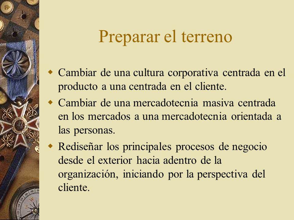 Preparar el terreno Cambiar de una cultura corporativa centrada en el producto a una centrada en el cliente.