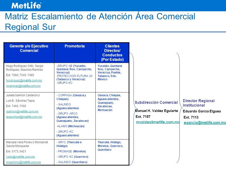Matriz Escalamiento de Atención Área Comercial Regional Sur