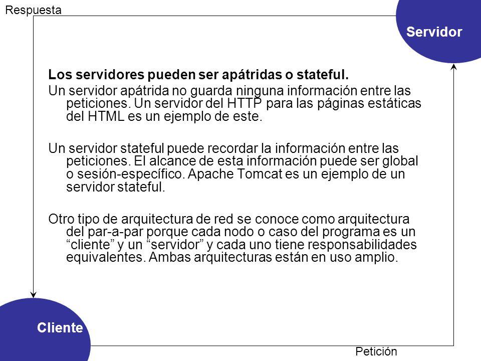 Los servidores pueden ser apátridas o stateful.
