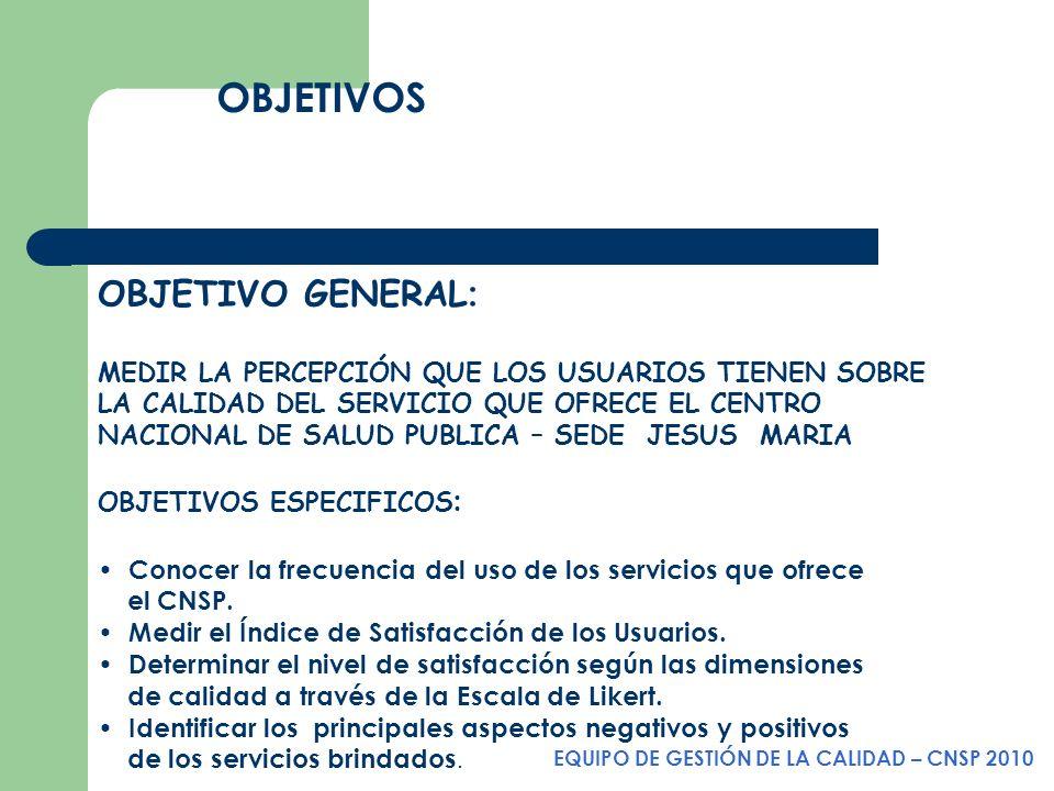 EQUIPO DE GESTIÓN DE LA CALIDAD – CNSP 2010