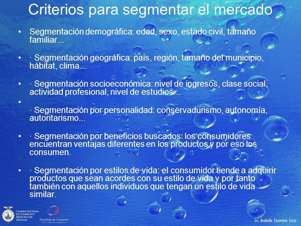 Criterios para segmentar el mercado