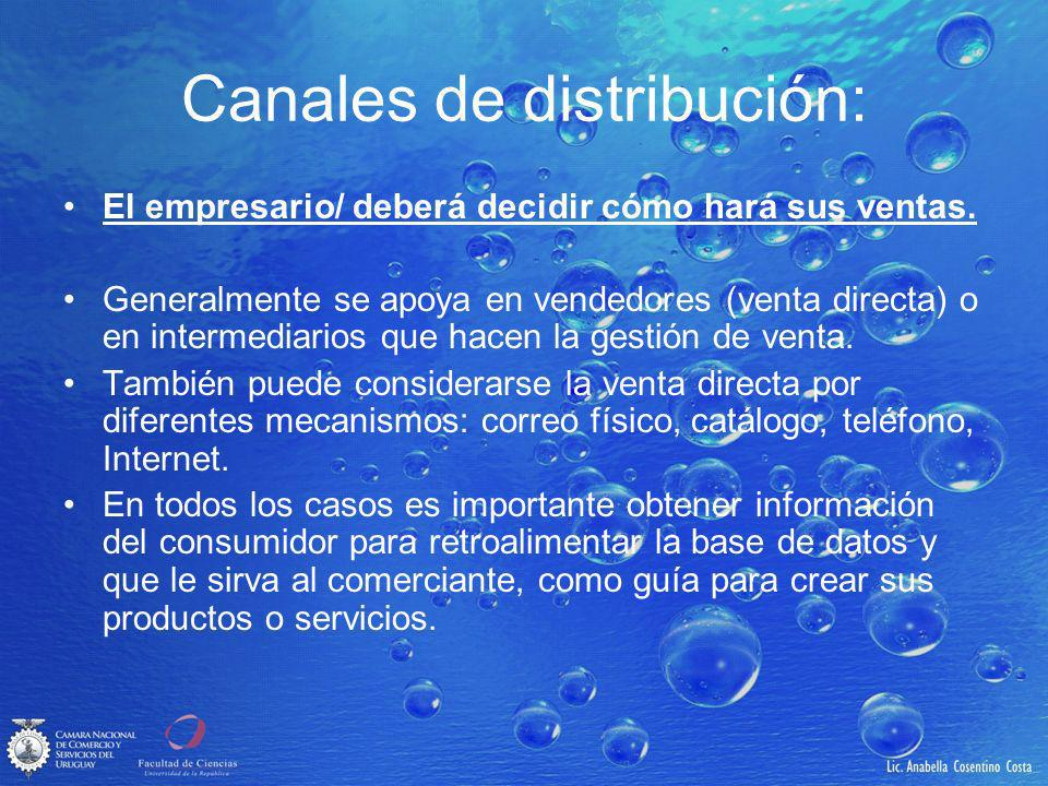 Canales de distribución: