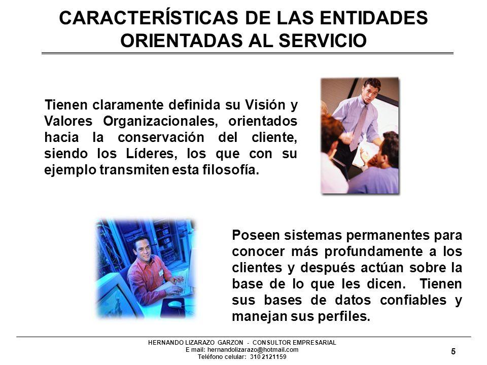 CARACTERÍSTICAS DE LAS ENTIDADES ORIENTADAS AL SERVICIO