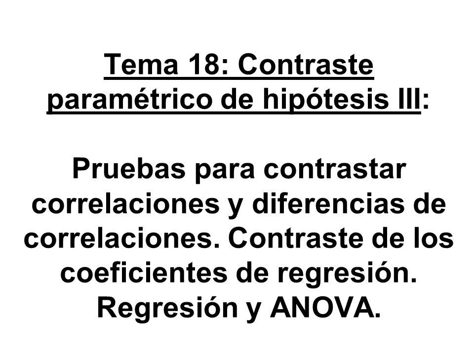 Tema 18: Contraste paramétrico de hipótesis III: Pruebas para contrastar correlaciones y diferencias de correlaciones.