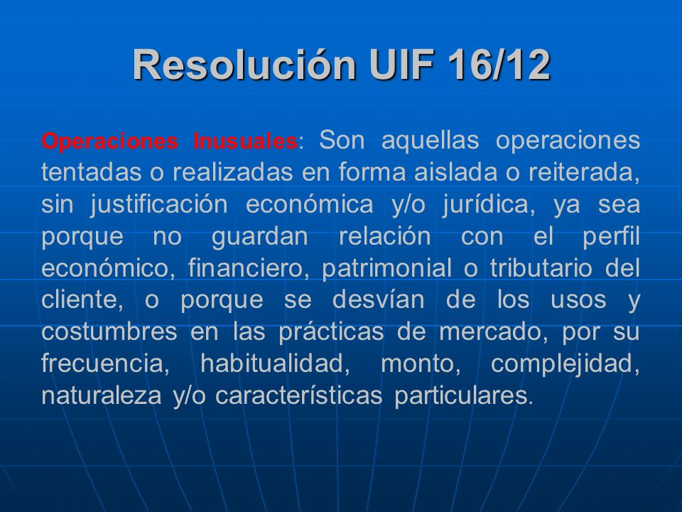 Resolución UIF 16/12