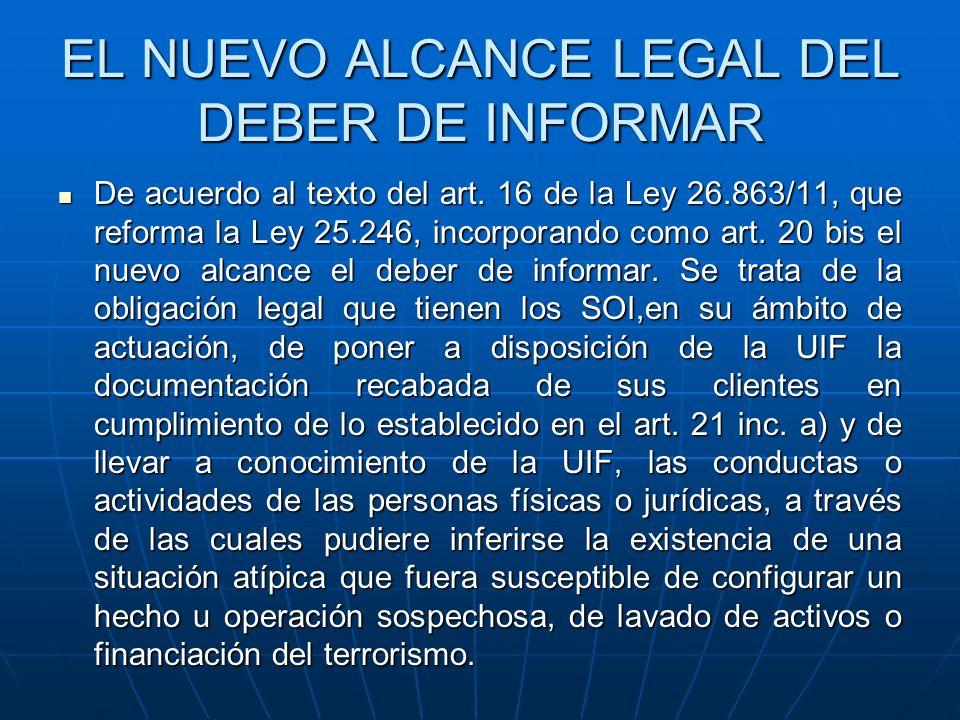 EL NUEVO ALCANCE LEGAL DEL DEBER DE INFORMAR