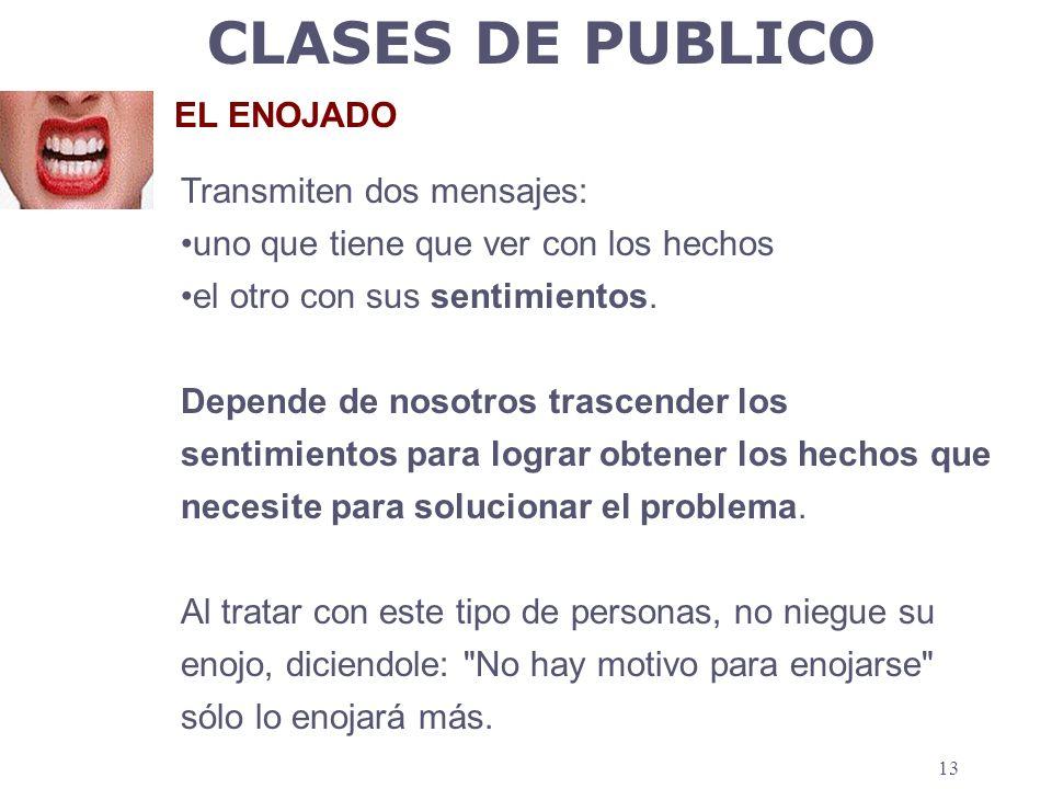 CLASES DE PUBLICO EL ENOJADO Transmiten dos mensajes: