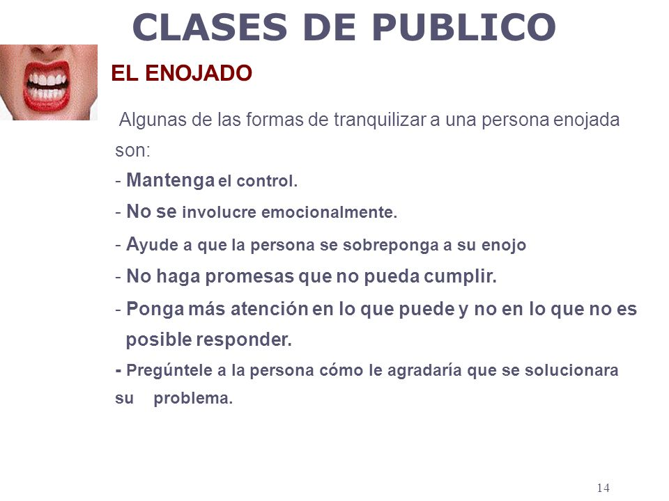 CLASES DE PUBLICO EL ENOJADO