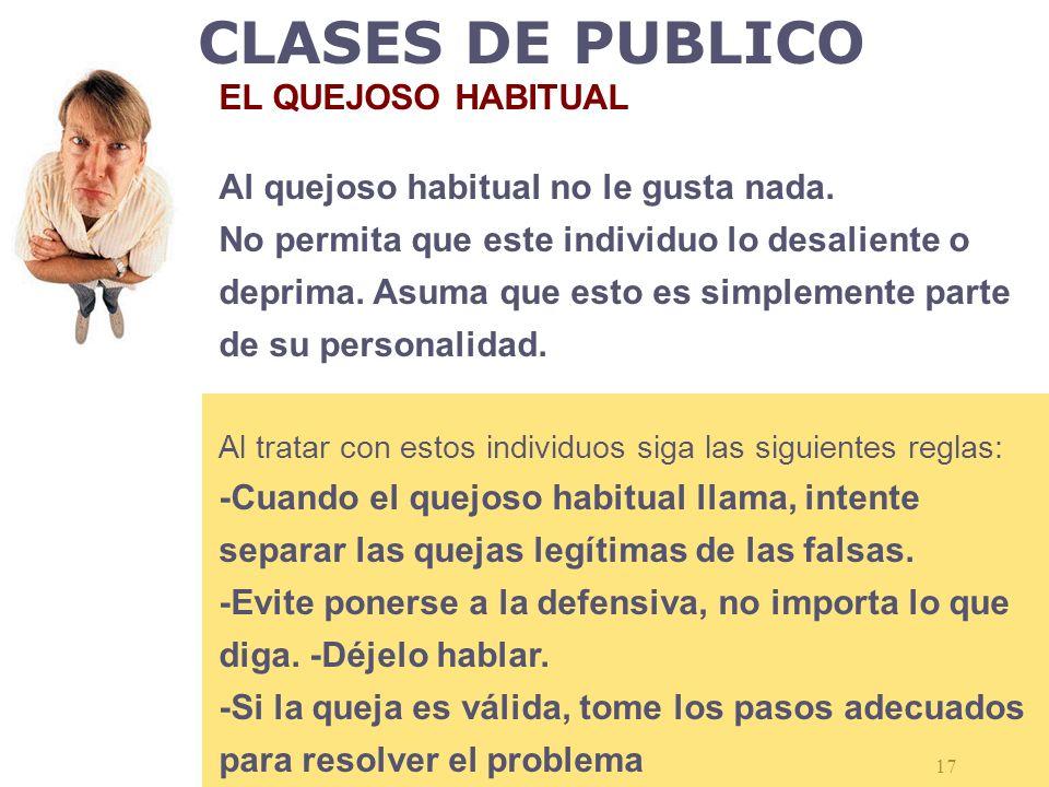 CLASES DE PUBLICO EL QUEJOSO HABITUAL