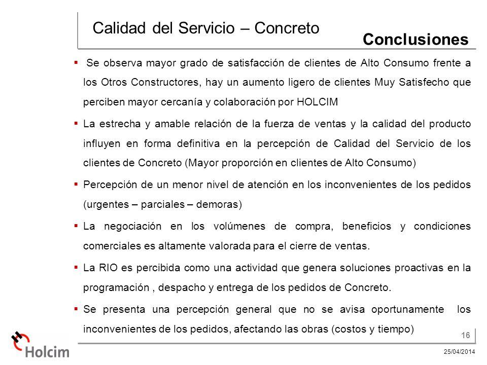 Calidad del Servicio – Concreto Conclusiones