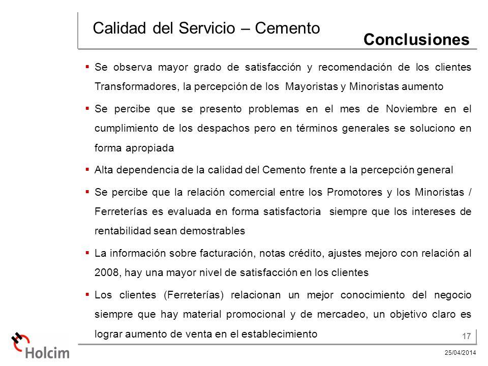 Calidad del Servicio – Cemento Conclusiones