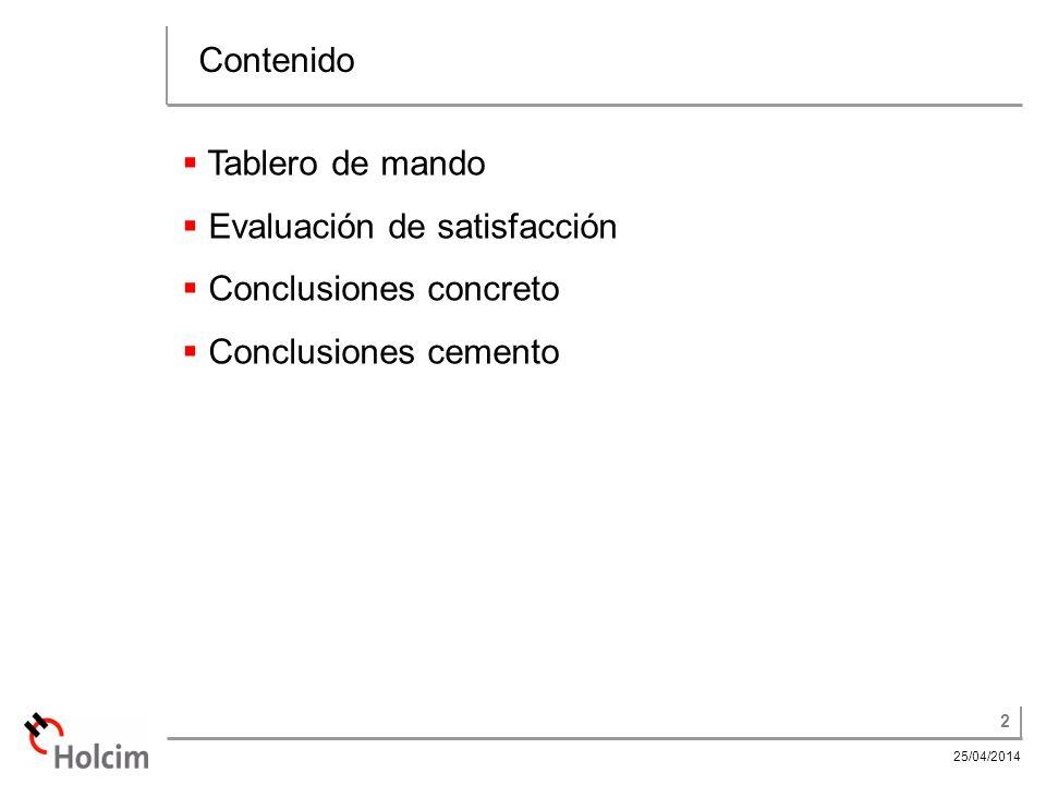 Contenido Tablero de mando Evaluación de satisfacción Conclusiones concreto Conclusiones cemento