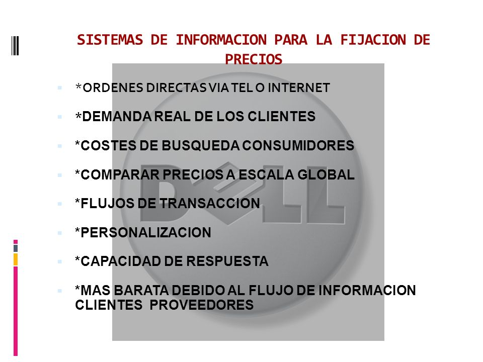 SISTEMAS DE INFORMACION PARA LA FIJACION DE PRECIOS