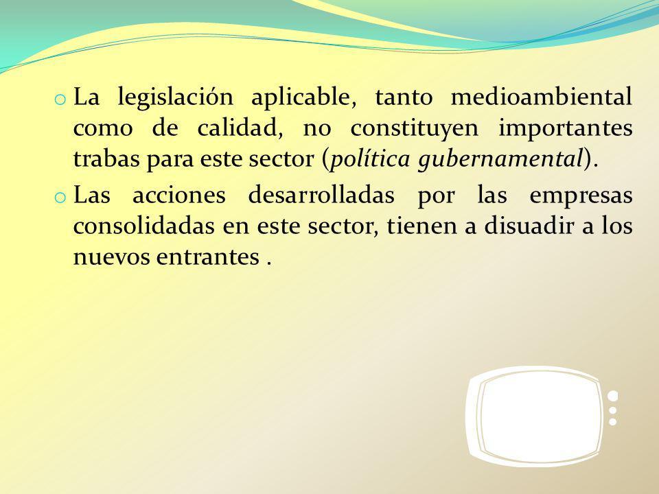 La legislación aplicable, tanto medioambiental como de calidad, no constituyen importantes trabas para este sector (política gubernamental).