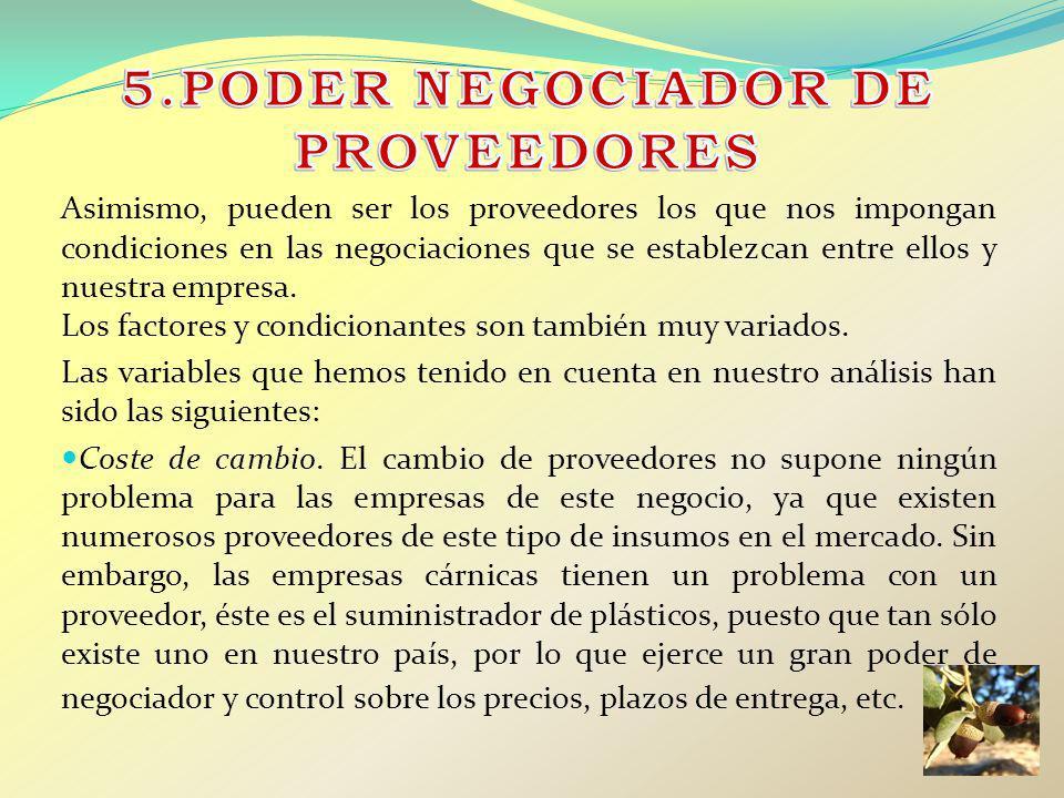 5.PODER NEGOCIADOR DE PROVEEDORES