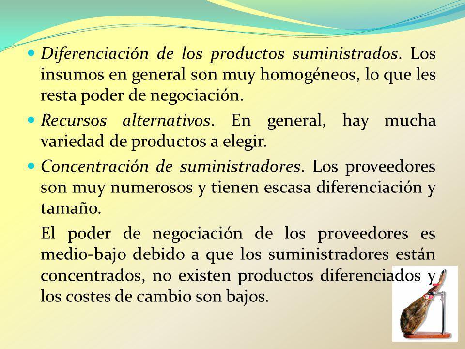 Diferenciación de los productos suministrados