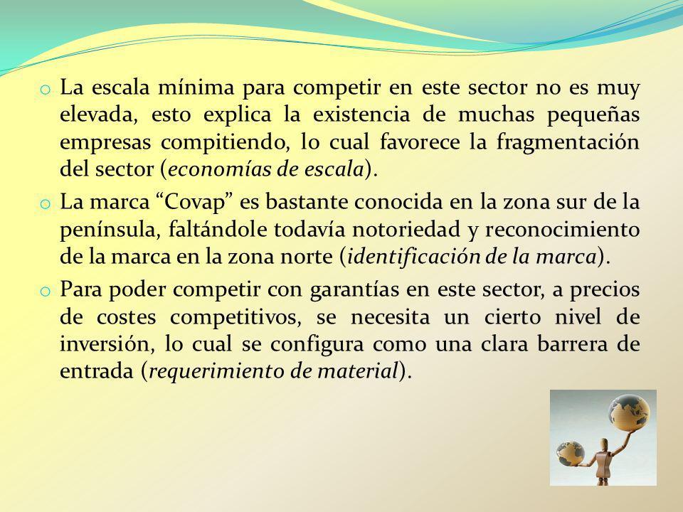 La escala mínima para competir en este sector no es muy elevada, esto explica la existencia de muchas pequeñas empresas compitiendo, lo cual favorece la fragmentación del sector (economías de escala).