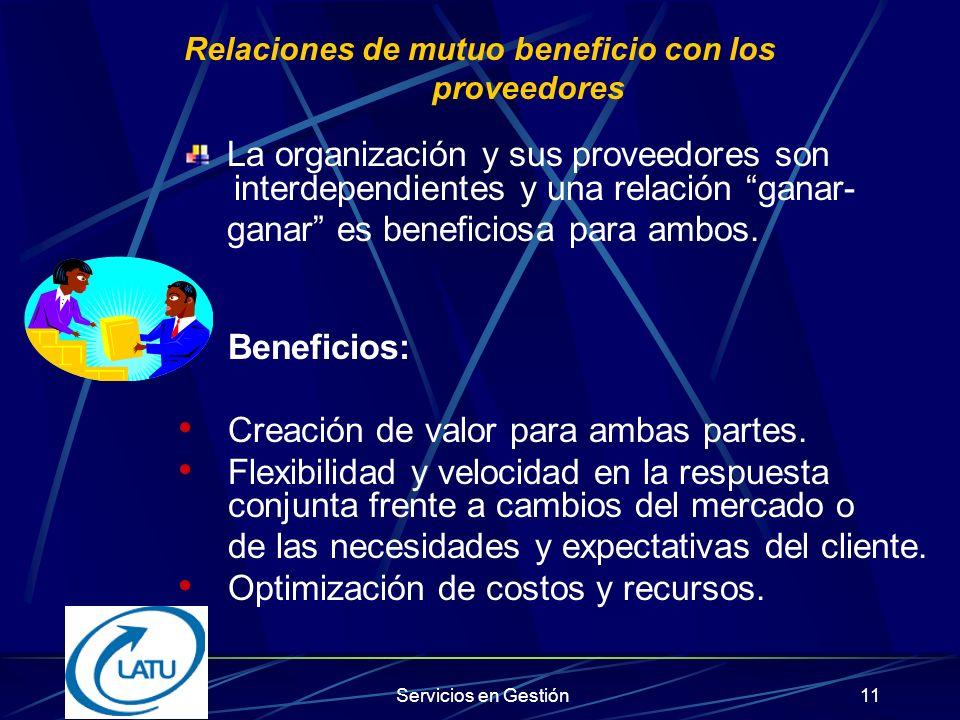 Relaciones de mutuo beneficio con los proveedores
