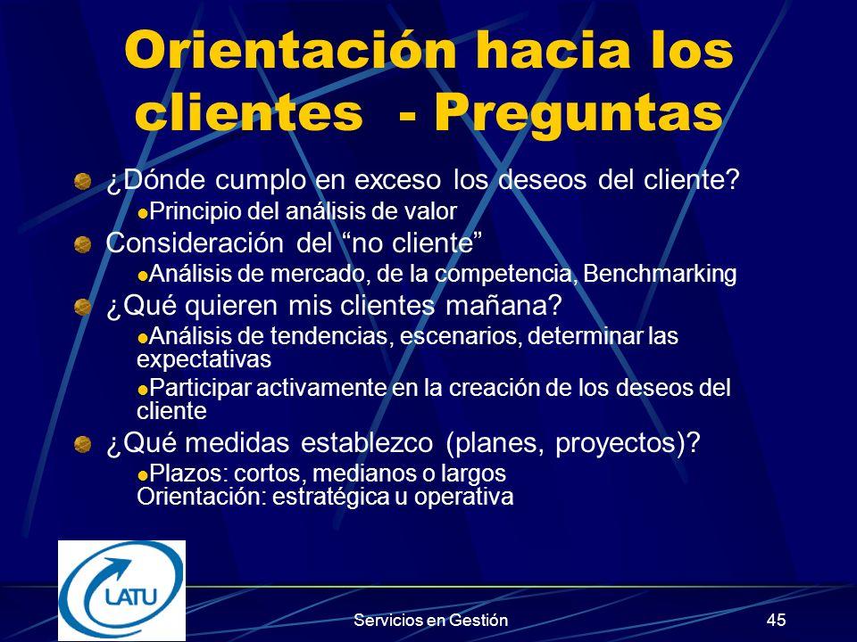 Orientación hacia los clientes - Preguntas