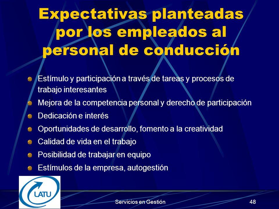 Expectativas planteadas por los empleados al personal de conducción