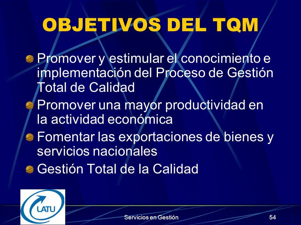 OBJETIVOS DEL TQM Promover y estimular el conocimiento e implementación del Proceso de Gestión Total de Calidad.