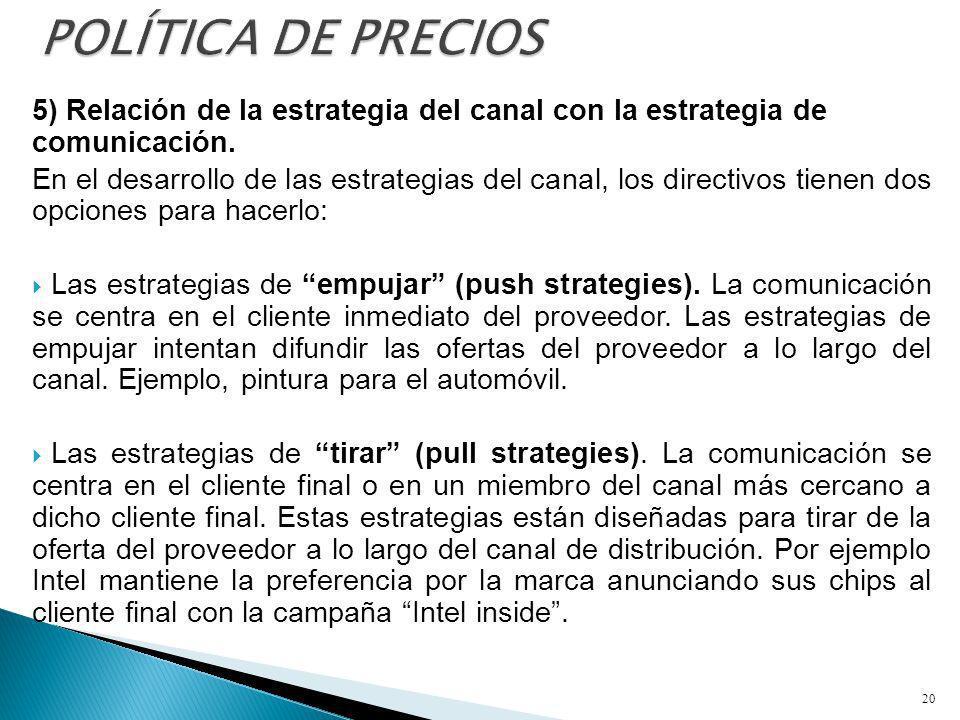 POLÍTICA DE PRECIOS 5) Relación de la estrategia del canal con la estrategia de comunicación.