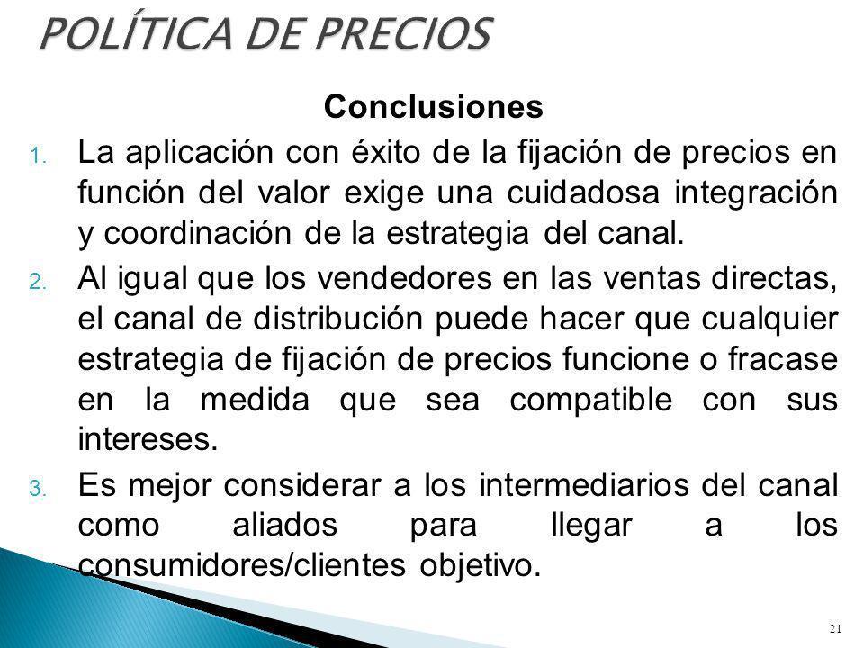 POLÍTICA DE PRECIOS Conclusiones
