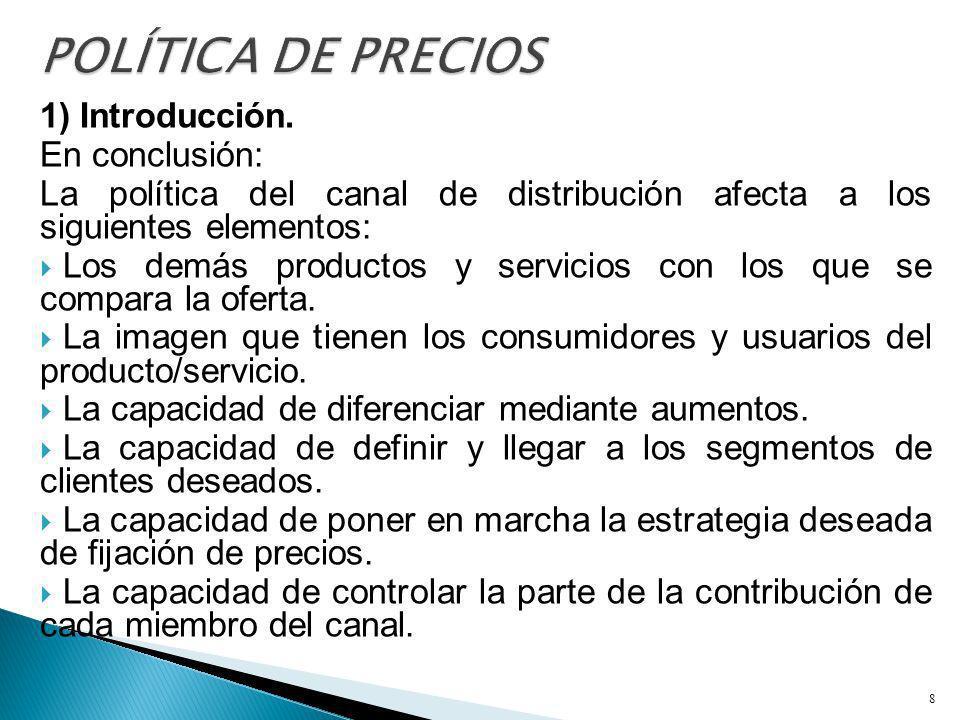 POLÍTICA DE PRECIOS 1) Introducción. En conclusión: